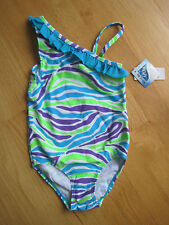 Girl TURQUOISE LIME GREEN PURPLE ZEBRA STRIPED 1 PC bathing swim suit NWT 5