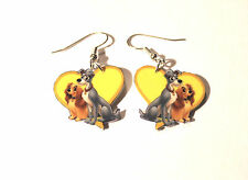LADY AND THE TRAMP HEART  EARRINGS CARTOONS CHARMS