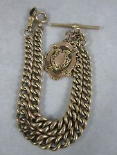 Early 20thC 9ct Rose Gold Double Albert Graduated link Watch Chain 29g Fob Medal