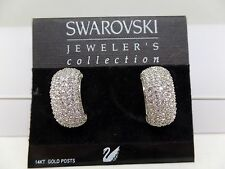 SWAROVSKI SIGNED WITH SWAN PAVE CRYSTAL PIERCED EARRINGS!