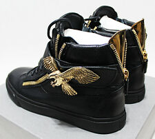 $1,355 Italy GIUSEPPE ZANOTTI Gold-Brass Flying Eagle High-Top Sneakers 9-US 42