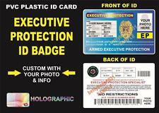 EXECUTIVE PROTECTION ID Badge / Card ~ CUSTOM W Your Info & Photo ~ BODYGUARD ID