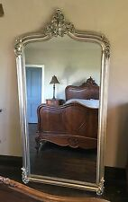 LARGE HUGE WOOD ANTIQUE SILVER FRENCH WEDDING LEANER DRESS MIRROR  7FT
