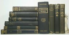 1929~Antique Vtg 10 Black Blue Book Lot~Old Set~SHAKESPEARE~SCOTT~BRITISH DRAMA