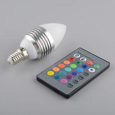 110-240V E14 3W 16 Farbe Ändern RGB Kerze LED Glühlampe-Lampe mit Fernbedienung