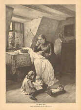 Children, Playing With Doll, Mother Sewing, Vintage 1889 German Antique Print