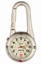Silver Clip on Carabiner FOB Watch White Face for Doctors Nurses Paramedics