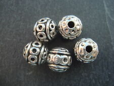 20 Decorated silver round 8mm beads, Lead Nickel & Cadmium free Tibetan style
