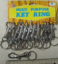 12 x Spring Clip Keyring multipurpose on a card clip on New