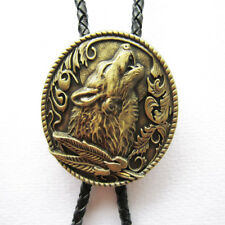 Western Jewelry Antique Brass WOLF Bolo Braided Leather Cord W/Engraved Tips