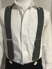 "New, Men's Medium Grey, XL, 2"", Adj. Twin Pin Clip Suspenders, Made in the USA"