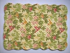April Cornell GABRIELLE Quilted Cotton Placemat Pink & Green Floral on Yellow
