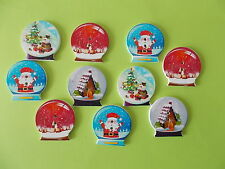 10 CHRISTMAS CRYSTAL BALL Shaped Wooden Buttons Scrap book Crafts Sewing