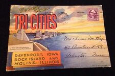 VINTAGE 1936 Tri-Cities Postcard Booklet Davenport Iowa Rock Island Moline IL