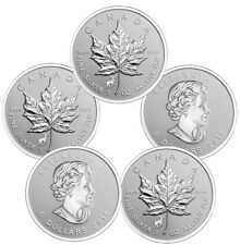 2015 Sheep Privy Silver Canadian Maple Leaf Coins - 5 oz Total .999 (Lot of 5)