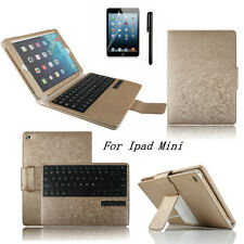 Gold Stand Leather Case Cover With Bluetooth Keyboard For Apple iPad Mini 1 2 3