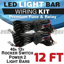 2x 40A 12V Wire Harness Kit Laser Switch+Relay LED Light Bar Off Road Truck 12ft