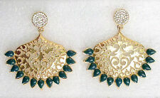 Traditional Ethnic Indian Earrings Designer Bridal Wedding Jewelry Party Green