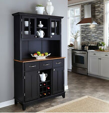 Black Buffet Cabinet w/ Hutch & Wine Rack Wood Storage Server Top Kitchen Dining