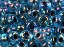 """Czech Glass Seed Beads Size 6/0 """" COPPER LINED AQUA AB """" Loose 50 Grams"""