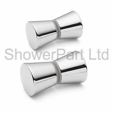 2 x SHOWER DOOR HANDLES/KNOBS CHROME PLATED ZINC ALLOY CONE SHAPED L050