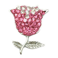 Clay Rhinestone Rose Charm Chunk Snap Button for Noosa Bracelet Necklace #ZE16