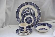 VINTAGE SCIO POTTERY 5 PIECE BLUE WILLOW STYLE IRONSTONE DINNER WARE SET ~USA