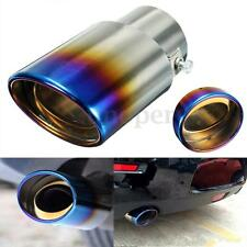 """2.5"""" Grilled Blue Chrome Stainless Steel Exhaust Muffler Tip Pipe Universal"""
