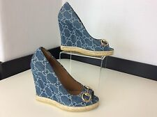 GUCCI New Blue Denim wedge Shoes Horse Bit Size 35.5 Uk 2.5 Bnwob Peep Toe Heels