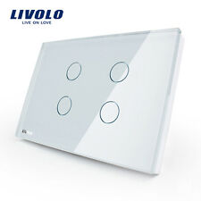 Livolo New US Type AC 110-250V 4 Gang 1 Way White Wall Light Touch On/Off Switch