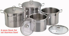 High Quality stainless Steel Stock pot Set 8 Piece Cooking Boiling Soup Catering