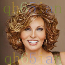 2015 Women's Sexy ladies Curly short Brown mix Natural Hair full wigs + Wig cap