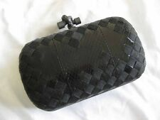 Bottega Veneta AUTH Knot Intrecciato Woven Metal Mesh Snakeskin Chain Clutch Bag