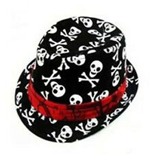 Kids Baby Boys Girls Cap Fedora Hat - Black with Skull Pattern YM