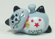 Solar Toy 1 Smiling Happy Face Grey Lucky Japanese Kitty / Cat  -  Waving Paw