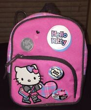 "Hello Kitty Sanrio Pink Plaid Backpack 9""x8"" 2008 Back To School"
