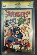 Avengers #4 CGC 9.4 NM - 1st App of Captain America & Bucky 1966 Signed Stan Lee