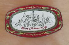 Fitz and Floyd St Nick Sentiment Tray Merry Christmas To All  2008 NIB Red