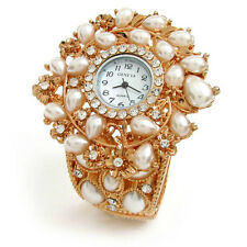 New Multi Color Crystal Floral Decorated Brass Women's Bangle Bracelet Watch
