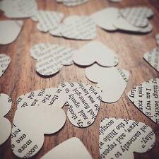 Vintage Heart Book Paper Confetti - Rustic Table Decorations