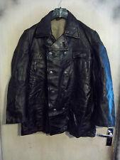 Vintage 40,S Segunda Guerra Mundial noruego Abrigo Chaqueta De Cuero Talla M fábrica Pea Coat