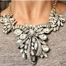 Newest Design huge Lady Statement clear crystal chunky chain charm necklace q969