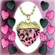 Manmade Stone Leopard Print Heart Pendant Long Sweater Necklace/ 2 Colors!