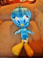 "Tweety Bird Blue Plaid LG Jumbo 20"" Stuffed Plush Six Flags Looney Tune RARE"