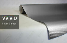 "5ft x60"" 3D silver carbon fiber vinyl car wrap sheet roll film sticker decal"