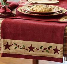 TABLE RUNNER 13X54 CHRISTMAS STAR RED BURLAP COTTON PRIMITIVE COUNTRY FARMHOUSE
