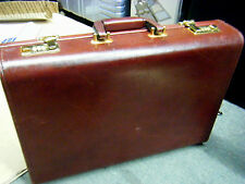 RARE Vintage ST. JAMES Mahogany Brown Leather Combination Lock Briefcase ~ LOOK