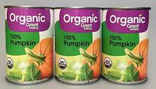 Great Value Organic 100% Pumpkin 15 oz (3 Cans)