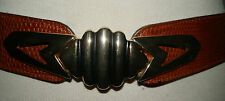 VINTAGE 90'S TAN LEATHER MOCK LIZARD SKIN EFFECT BELT COUNTRY CASUALS SIZE 14-16