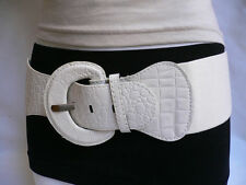"NEW WOMEN HIP HIGH WAIST ELASTIC WHITE WIDE FASHION BELT PLUS SIZE 32-45"" M L XL"